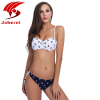 JABERNI Bikini 2017 New Push Up Swimwear Retro Navy BLue Black White Striped Anchors Bathing Suit