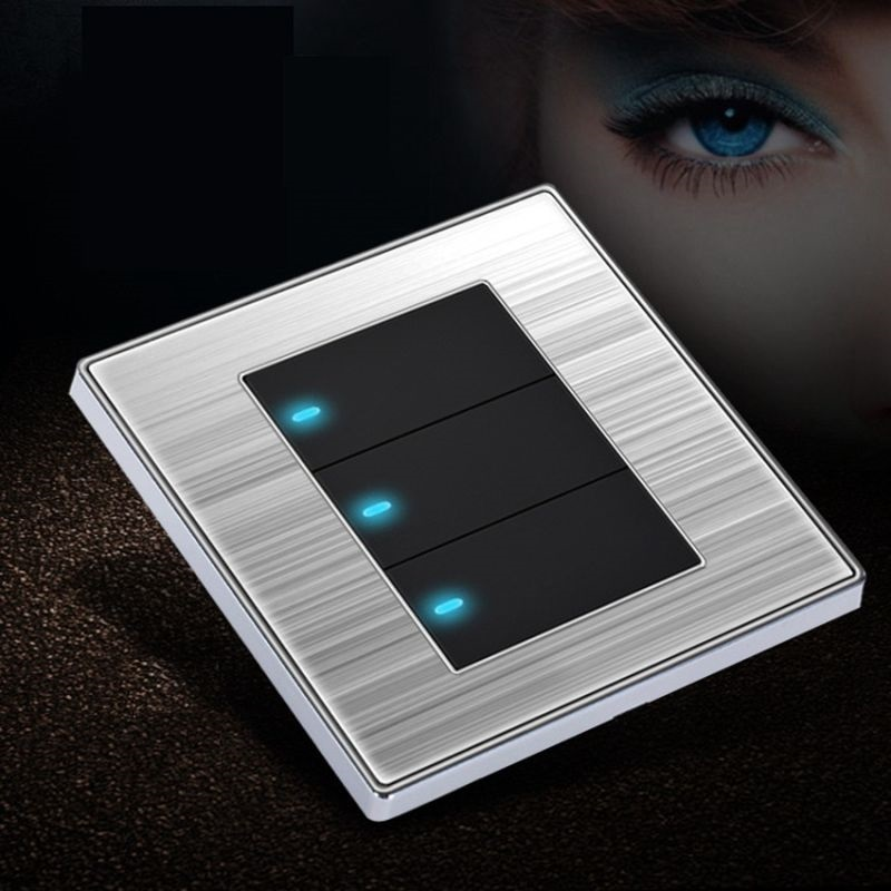 Brushed Stainless Steel Panel Click Wall Switch 3 Gang Single/Double Control  LED Indicator Light Black and Gold 86*86mm 1