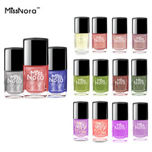 MISS NORA Water Based Nail Polish 6ml Holographic Sequins Gel Semi Permanent Top Coat Base Varnish Art Set