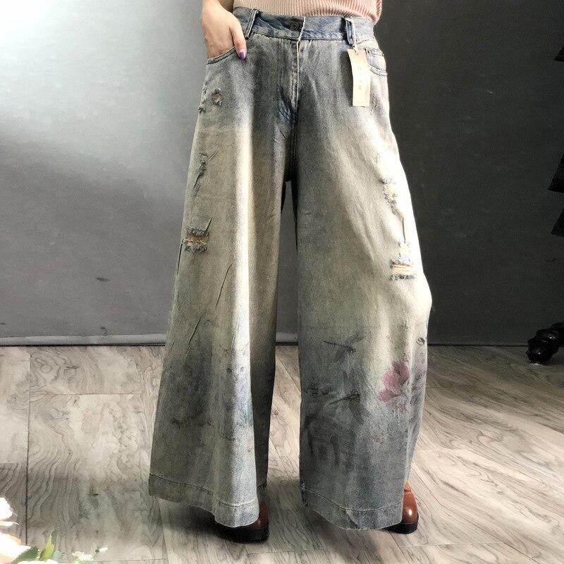 2019 Vaqueros Impresión Denim Pantalones Con Ancho Cielo Las De Mujeres La Casuales Nueva Largos Pierna Para Gratis Cintura Agujeros Envío Azul Elástica Moda Ofx6ZR