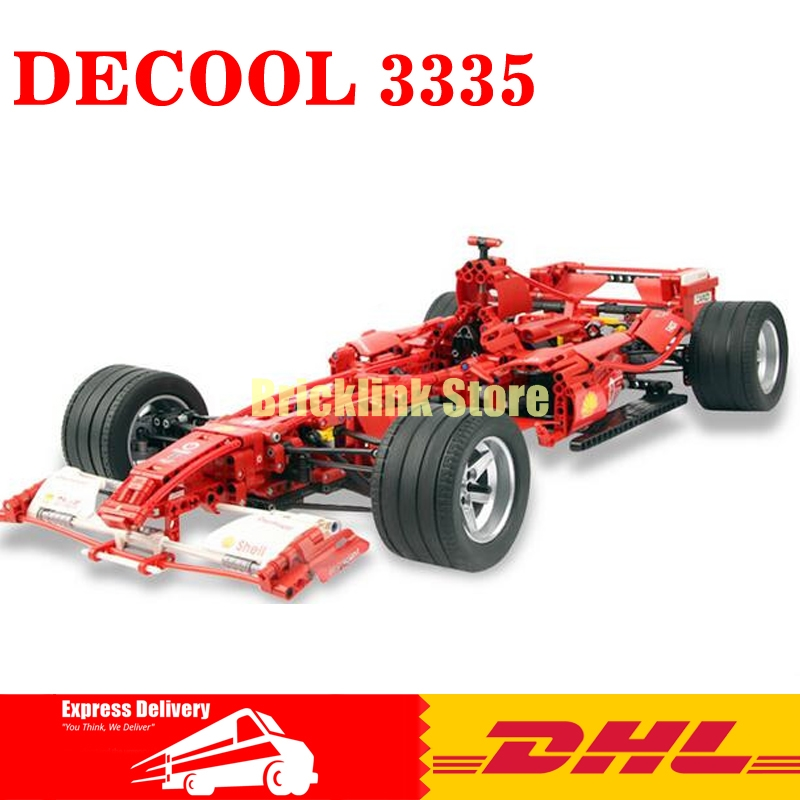 DHL Decool Formula Racing Car 1:8 Model 3335 Building Blocks Sets 1242pcs Educational DIY Bricks Toys Clone 8674 high speed racing car blocks 110pcs bricks building blocks sets model bricks educational toys for children f1 formula racing