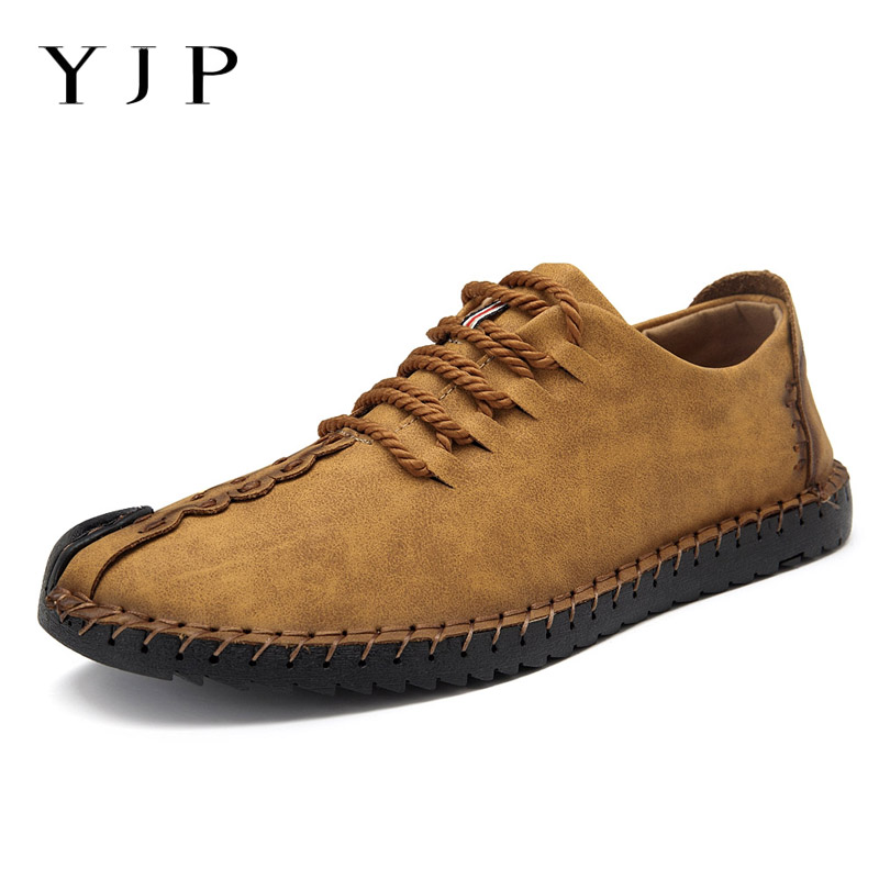 YJP Hand Stitching Faux Suede Casual Flat Shoes Men Vintage Lace-up PU Leather Men Shoes Moccasins Flat Heel Loafers Plus Size preppy men s suede casual shoes with color block and stitching design