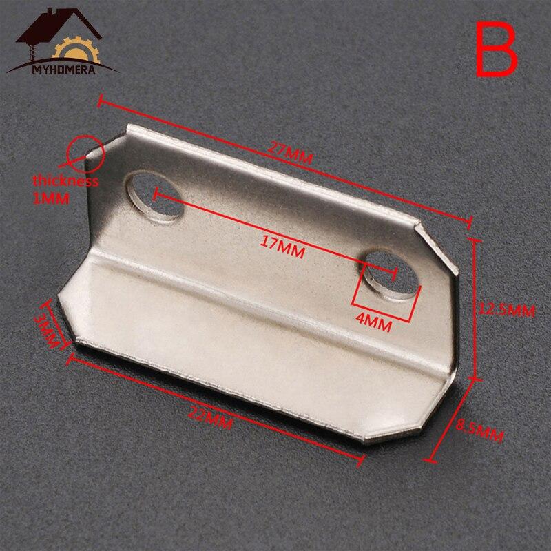 Myhomera 10 шт. дверной болт пластина для замка ящика Защитная защелка бочка болт железная крышка с винтами 30*16 мм большой маленький - Цвет: B- Small Size