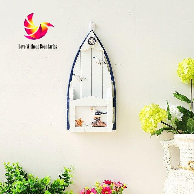 a9afce3d US $19.99 |Dekoracja w stylu śródziemnomorskim stylowy ściana z drewna  ozdoba pokoju dziecka stanowią ozdobne rzemiosło łódź statek powiesić ...