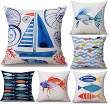 Funda de almohada de cuello cuerpo de dibujos animados de peces Vintage, funda de almohada de lino para cama, cojín para sofá, cojín, cojín, decoración del hogar, regalo familiar