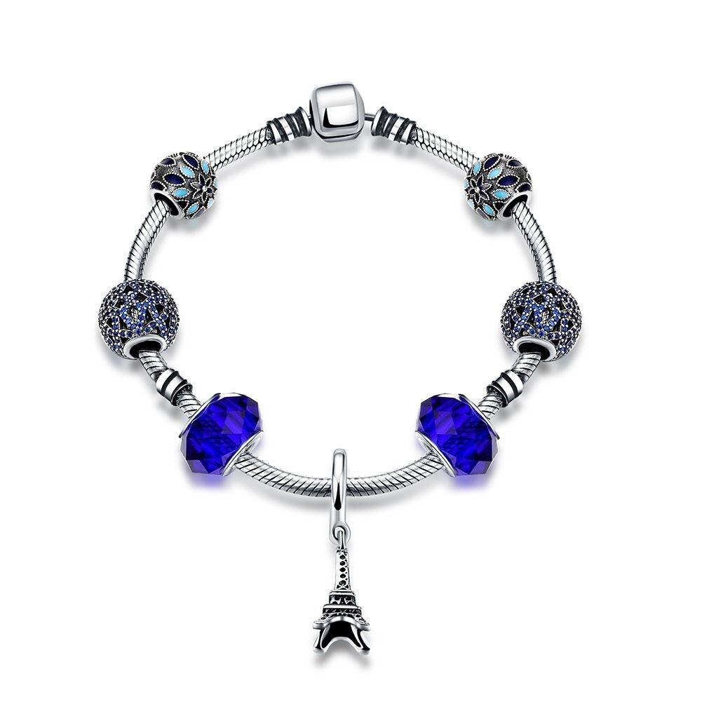 XIUFEN Lady Silver Bracelets Brace Lace with Beads Female Women Fashion Valentines Gift