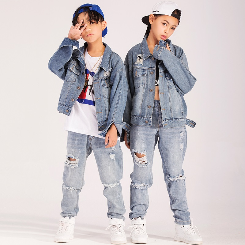 Boys and girls autumn and winter new hole loose denim jacket trousers children street dance clothes suit hip hop clothing tideBoys and girls autumn and winter new hole loose denim jacket trousers children street dance clothes suit hip hop clothing tide