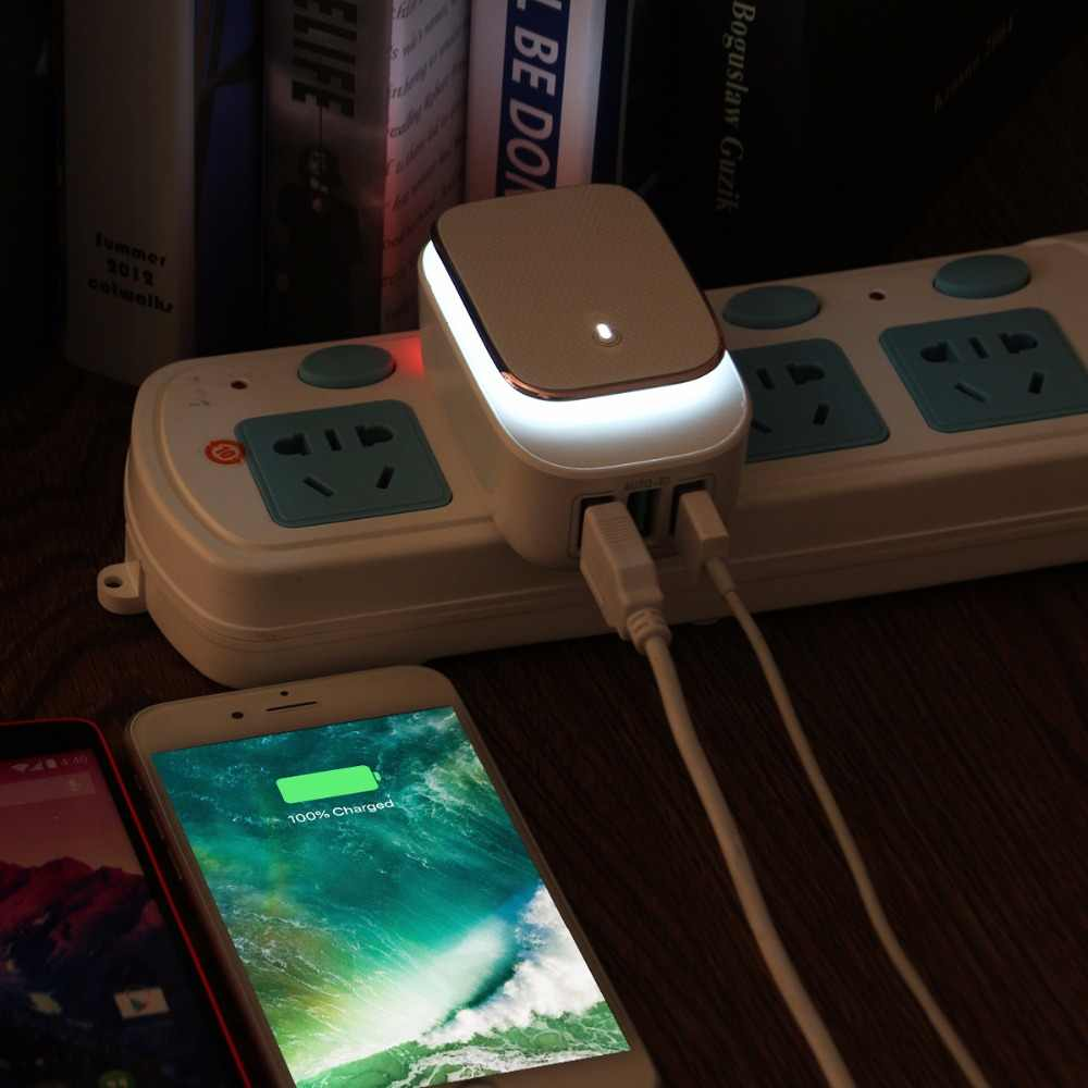 Powstro 3 Порты и разъёмы USB Зарядное устройство Адаптер 5В 3.4A светодиодный ночной Светильник 17 Вт Авто-ID Складная заглушка для телефона дорожное настенное зарядное Зарядное устройство для samsung S8 S7