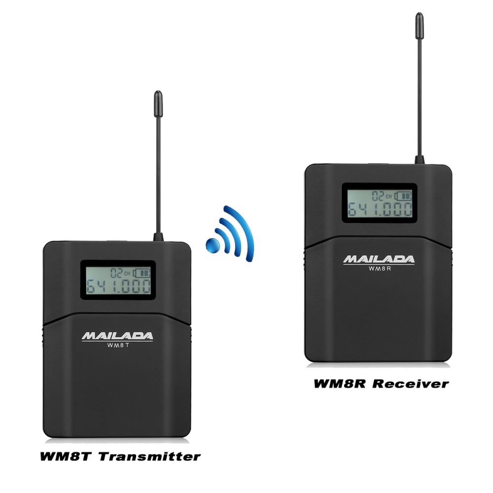 MAILADA WM8 Professional UHF Wireless Microphone System Lavalier Lapel Mic Receiver +Transmitter for Camcorder Recorder F1431A free shipping 122 g2 professional uhf wireless microphone wireless system with bodypack transmitter lapel lavalier clip mic