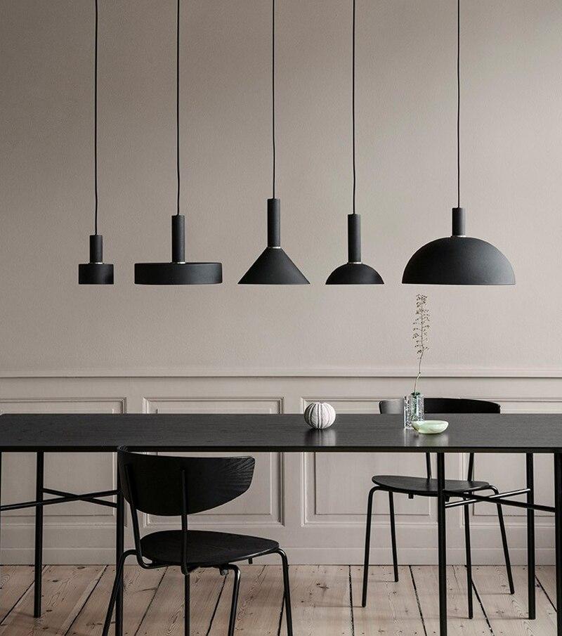 Negro Nórdico simple bar lámpara de luz colgante restaurante habitación de luces arte moderno y de iluminación creativa