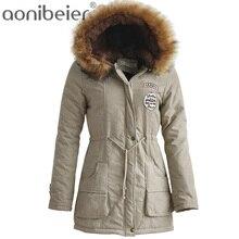 Зимние Для женщин куртка 2018 Мода Искусственный меховой воротник пальто с капюшоном теплая куртка женская верхняя одежда Повседневное длинные Пух хлопковые пальто