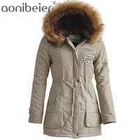 Winter Women Parkas 2017 Fashion Artificial Fur Collar Hooded Coat Warm Jacket Female Outerwear Casual Long