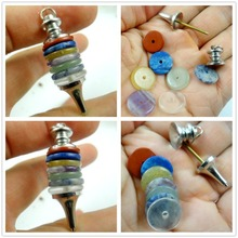 1pcs Fashion natural stone 7 Chakra Wheels of Life Crystal lapis Gem Precision new Copper Pendulum pendant Gem Jewelry Making
