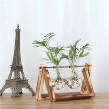Hydroponic Plant Transparent Vase Wooden Frame for Decoratio Glass Tabletop  Vases Flowers Tv Cabinet Tall