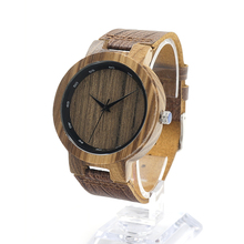 BOBO BIRD Handmade Bamboo Wooden Watch with Brown Cowhide Leather Strap Japanese Quartz Movement Casual Watches D022-1