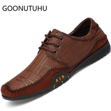 купить 2019 new fashion men's shoes casual genuine leather male brown & yellow lace up shoe man comfortable flat shoes for men hot sale по цене 3777.61 рублей