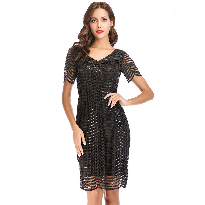 MUXU fashion woman clothes black sequin glitter dress mesh transparent  party dresses vestidos verano plus size gold sukienka new 1b15b26a5b76