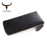 COWATHER 2017 Leather Wallet Long Purse Wallet Luxury Male Genuine Leather Wallet Men Zipper Purse Male