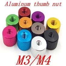 10 шт./лот M3 M4 рифленой Красочные алюминиевого thumb Гайка