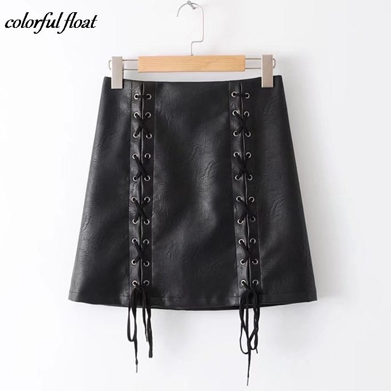 2377 A word PU skirt skirts Autumn winter new European American women s solid color PU leather tied rope