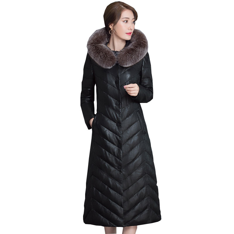5XL Ukraine Plus Size 2017 New Winter Down Women Jacket Removable Hooded Fur collar Leather Long Coat Fashion Femme Parka Z261 2015 mens down padded coat fashion splice leather patchwork male down coat hooded winter jacket man fur collar plus size xxxxxl