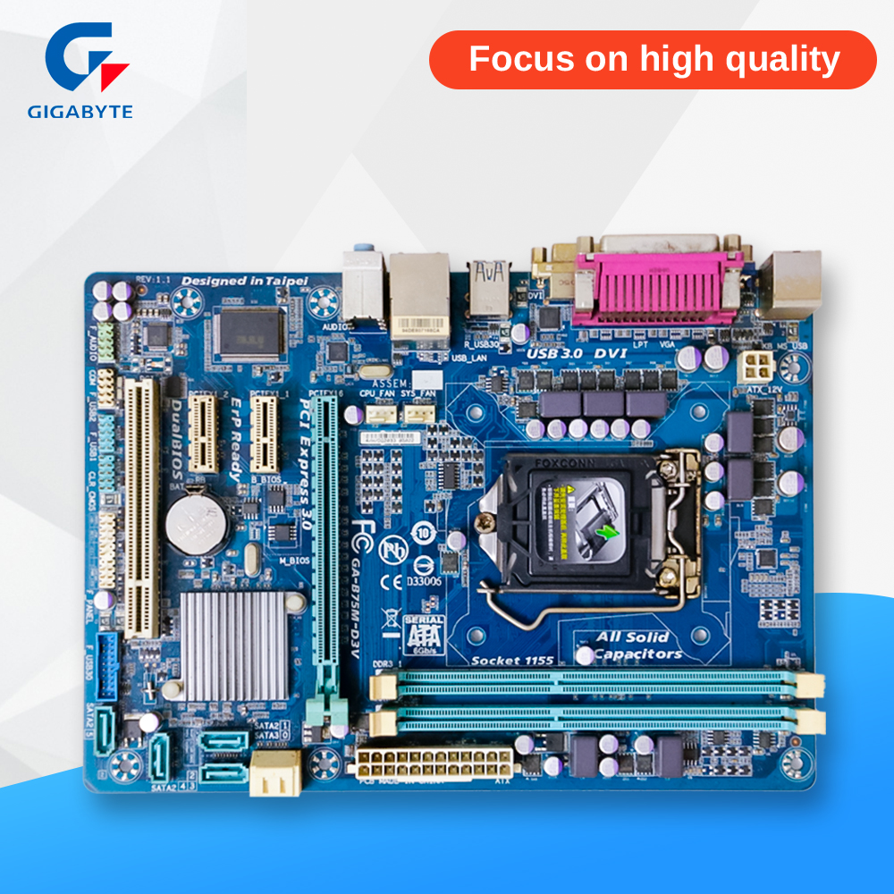 Gigabyte GA-B75M-D3V Original Used Desktop Motherboard B75M-D3V B75 Socket LGA 1155 DDR3 Micro-ATX On Sale asus p5ql cm desktop motherboard g43 socket lga 775 q8200 q8300 ddr2 8g u atx uefi bios original used mainboard on sale