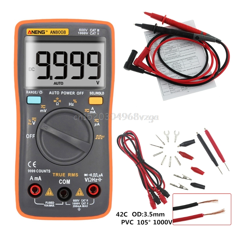 AN8008 True RMS LCD Digital Multimeter Voltmeter Ammeter AC DC Voltage Current #H028# excel dt9205a 3 lcd digital multimeter black orange 1 x 6f22