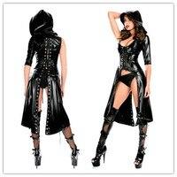 Женский готический костюм из искусственной кожи, черный латексный костюм из искусственной кожи, комбинезон, новинка 2019