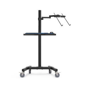 Image 3 - Dual Mount Monitor Holder + Laptop Holder PS Stand Trolley  Sit Stand Work Station Floor Stand Moving Cart