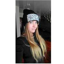 women brand winter hat beanie knitted cap girl fashion luxury rhinestone thermal hats clear beads warmer casual gorros skullies
