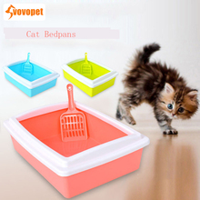VOVOPET Cat Bedpans Semi Closed Anti-splash Square Kitten Puppy Rabbit Toilet Portable Solid Plastic Cats Litter Box