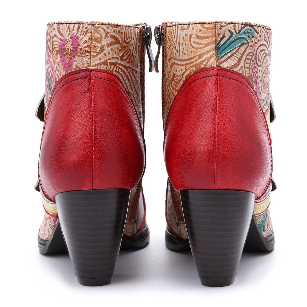 2019 Printemps En Cuir Talon Mid Main Oukahui Rétro Bottes Chaussures Haute Style 42 Automne Zipper Mode Femmes Véritable Red Qualité q0fwO