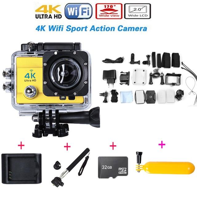 ФОТО Hot WIFI 4K Ultra HD Sport Action Camera 2.0 Inch 14MP 1080P 4k HD 30M Waterproof Add Monopod+Charger+32GB Card+Buoyancy stick