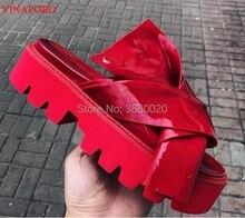 Platform Sandals Chunky Heel Slippers Women Flats Thick Heel Slides Patent Leather Candy Color Flip Flops Designer Summer Shoes vintage women s sandals with solid color and chunky heel design