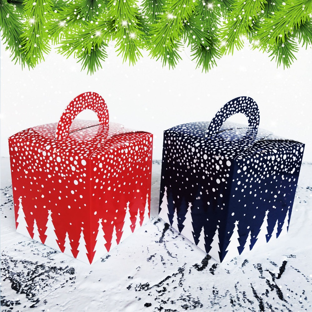 Christmas Blue Red Snow House Wedding Party Favours Decoration Biscuit Gift Boxes Bags Christmas Cake Apple Cookies Candy Bags