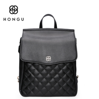 HONGU New Genuine Leather Female Backback Korean Version Of Diamond Multi Function Backpack Preppy Wind Schoolbag