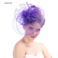 2017 Fashion Mesh Gauze Wedding Fascinator And Hats Purple Green Floral Net Feather Hairpin Cocktail Horse