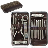 15Pcs Pedicure Manicure Set Nail Clippers Cleaner Cuticle Grooming Kit Case New