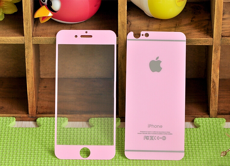 half off 6dfba 90053 US $10.99 |(Free bumper) 2 pcs 0.26mm Full Pink Colored Tempered Glass  Screen Protector For iPhone 6 Plus 5.5