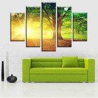 高品質抽象油絵太陽とグリーン大hd 5ピースキャンバス絵画リビングルームの壁アート