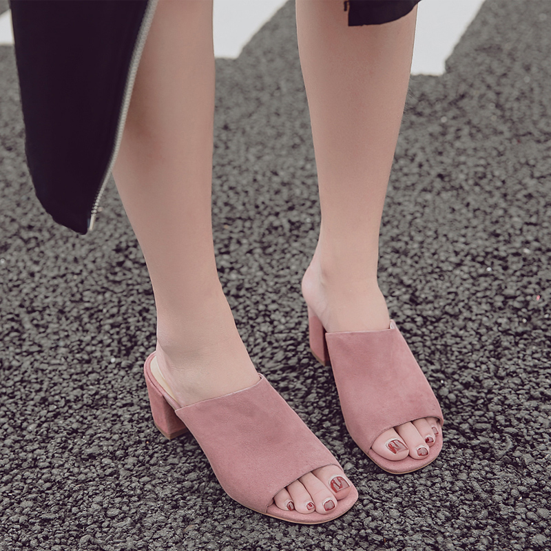 Donna-in Mules High Heels Peep Toes Genuine Leather Sandals Women Summer Flip Flops Shoes 2020 Slides Women Slippers Outdoor 2