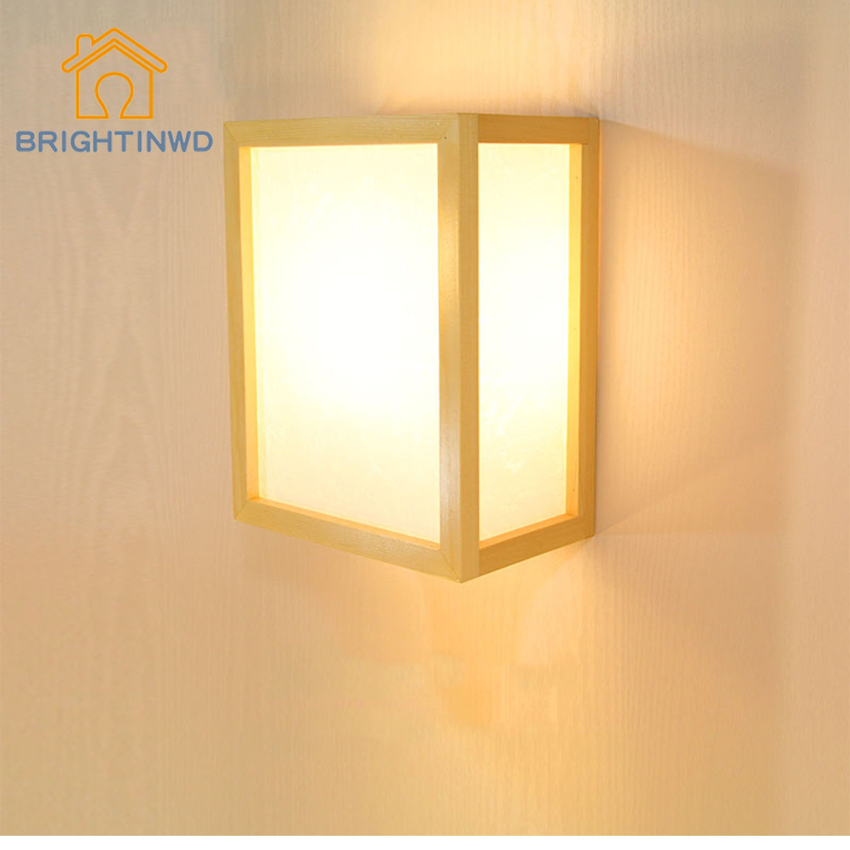 Modern minimalist creative Japanese wood color solid wood led wall lamp Hotel room tatami wooden lamp