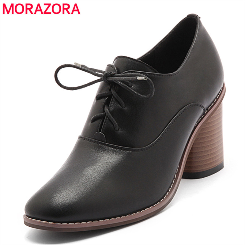 MORAZORA 2018 new round toe women pumps spring autumn ladies shoes lace up genuine leather dress shoes square high heels shoes xiaying smile woman pumps shoes women spring autumn wedges heels british style classics round toe lace up thick sole women shoes