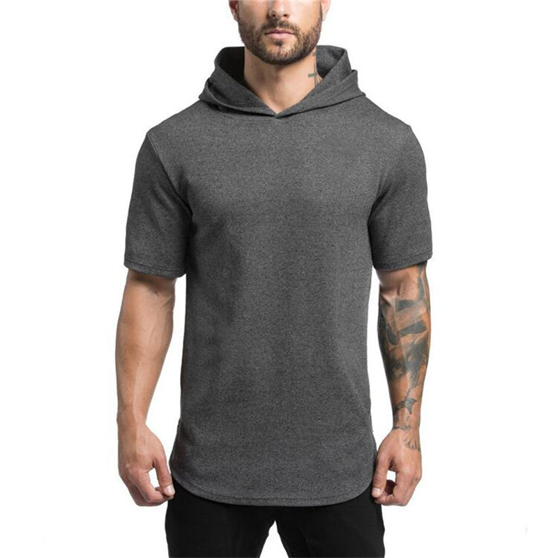 Mens Bodybuilding Hoodies Men Gyms Hooded Short Sleeve T Shirt Fitness Clothing Muscle Slim Solid Cotton Pullover Sweatshirt