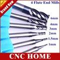 O envio gratuito de 6 pçs/set HRC45 D1-D6 Real quatro 4 flautas carboneto de tungstênio fresa fresa CNC router bit