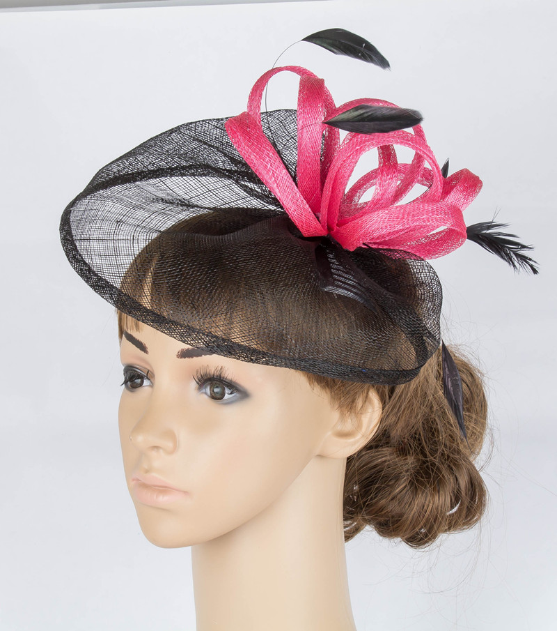 fancy color sinamay fascinator headwear feather colorful mesh church show hair accessories. Black Bedroom Furniture Sets. Home Design Ideas