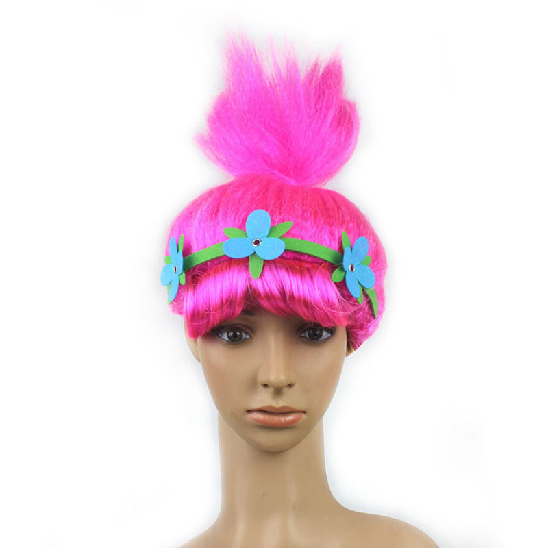 Christmas Gift Trolls Poppy Wig Girls Costume Halloween Costumes for Kids Party Supplies Cosplay Trolls Wig Christmas Toys