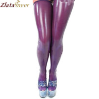 Latex Stockings Women Purple Long Custom made Rubber Tights Plus Size Rubber Socks Elastic Stocking LA014