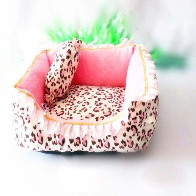 Korea Style Princess Dog Cat Bed Pink Leopard Pet House Sleeping Bag With Pillow