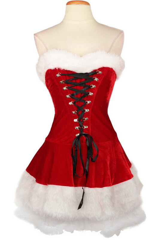 Plus Size M-XXL 2016 Sexy Deluxe Ladies Velvet Christmas Dress Sexy Cute Santa Claus Costume Mrs Christmas Party Fancy Dress